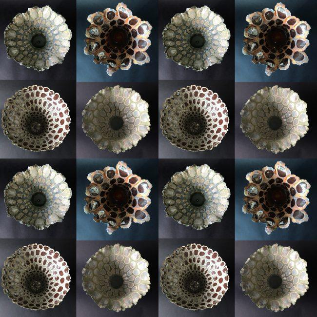 Keramiek kunst. Patroon uit bovenaanzichten schaalvormen. Aardewerk, binnenkant bewerkt met engobes, glazuren en glazuurpotlood.